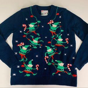 Festive Elves Christmas Sweater Jingles Lights Up